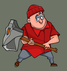 Cartoon man in modern clothes with a huge stone ax vector