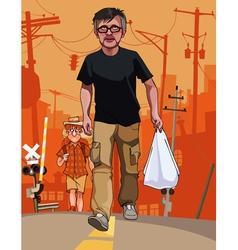 cartoon men with bags go through the city vector image