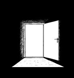 cartoon of open simple modern door and light vector image