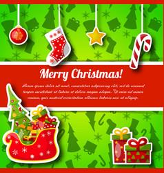 Christmas symbols postcard vector