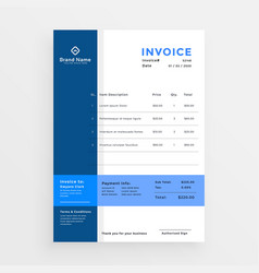 Clean blue business invoice template design vector
