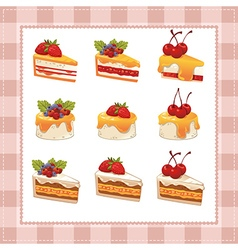 Collection of cakes on white background vector image vector image