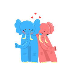 couple of elephants in love embracing each other vector image