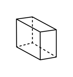Cuboid black geometry shape projection dashed line vector