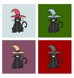 Cute black cat in a witch hat sitting halloween vector