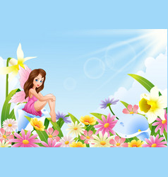 cute fairy sitting on flower field vector image