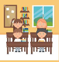 Cute little students group in classroom vector