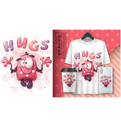 Cute monster - poster and merchandising vector