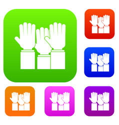 different people hands raised up set color vector image