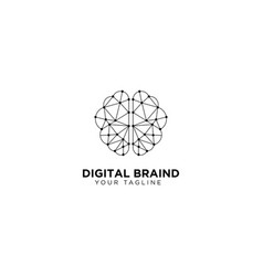 Digital brain logo design template vector