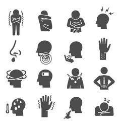 disease symptoms pain ache bold black silhouette vector image