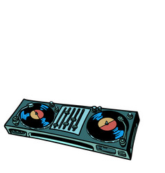 dj turntable music console isolate on white vector image