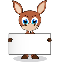 donkey with blank sign vector image