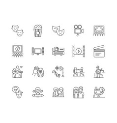 Drama line icons signs set outline vector