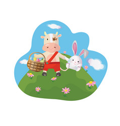 easter greeting card with chinese new year 2021 vector image