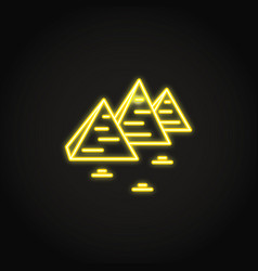 Egyptian pyramids icon in glowing neon style vector