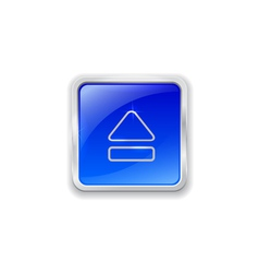 Eject icon on blue button vector image