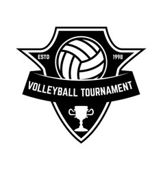 emblem template with volleyball ball design vector image