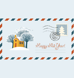envelope with snow-covered yellow house and trees vector image