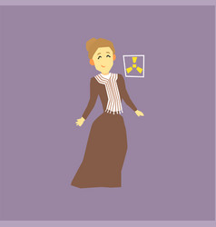 Famous woman scientist - marie curie discoverer vector