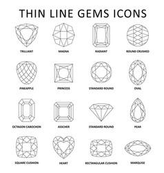 Fancy gem cut set vector