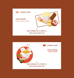 fast food set business cards vector image