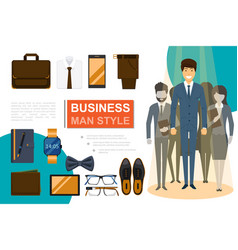 flat businessman style composition vector image