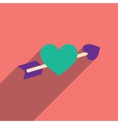 Flat web icon with long shadow arrow heart vector