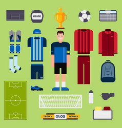 Football elements soccer player uniform clothing vector