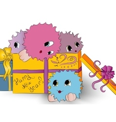 four cute colorful monsters gift box white vector image