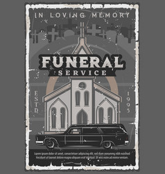 Funeral ceremony church hearse car and tombstone vector