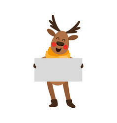 funny christmas reindeer holding whint empty board vector image
