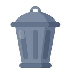 Garbage trash bin flat vector