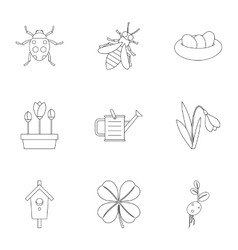 Garden icons set outline style vector image