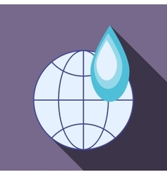 Globe and water drop icon flat style vector