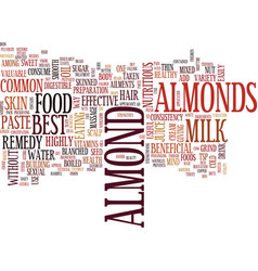Go nuts about almonds text background word cloud vector