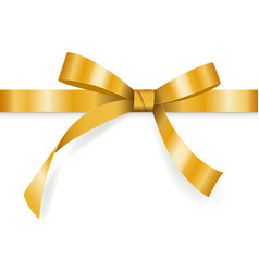 golden bow with horizontal ribbon isolated vector image