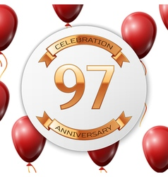 Golden number ninety seven years anniversary vector