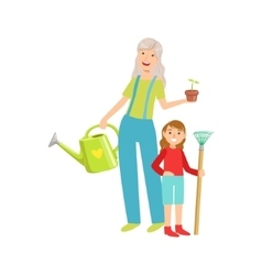 Grandmother And Granddaughter Gardening Part Of vector