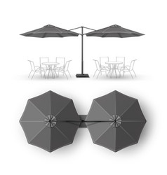 Gray outdoor cafe bar pub lounge round umbrella vector