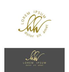 h h handdrawn brush monogram calligraphy logo vector image