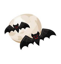 Halloween vampire bats and a full moon vector