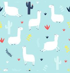 Hand drawing llama seamless pattern vector