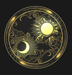 hand drawn sun and moon in engraving oriental vector image