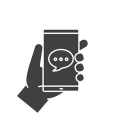 Hand holding smartphone glyph icon vector