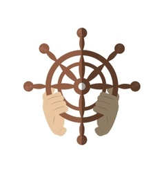 Hand holding wheel steering boat helm shadow vector