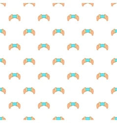Hands holding cell phone pattern cartoon style vector