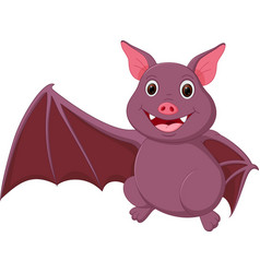 Happy bat cartoon waving vector