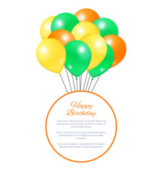 happy birthday postcard balloons big bundle party vector image