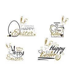 happy easter set easter lettering design vector image